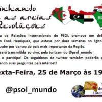 Hoje: debate sobre o Egito pela twitcam do @psol_mundo