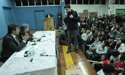 """Haddad vai à USP e o Juntos! dá o recado: """"7% é proposta de tucano!"""""""