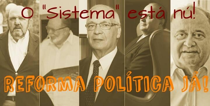 """O """"Sistema"""" está nu! Contra a corrupção, por mais direitos."""