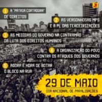 29M Dia Nacional de Paralisações