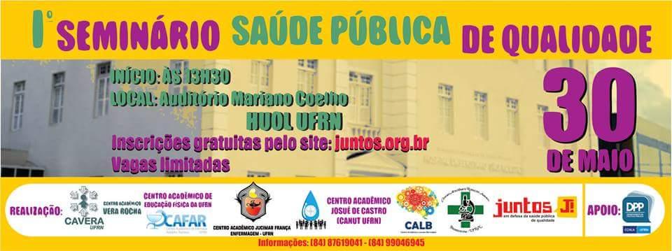 Inscreva-se no I° Seminário Saúde Pública de Qualidade em Natal