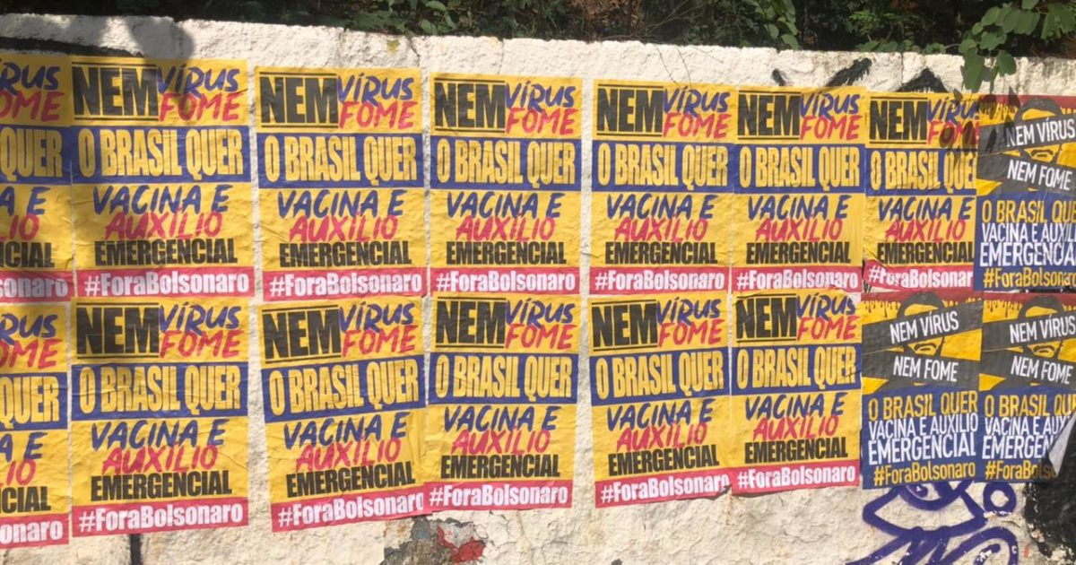 Intervenção de lambes contra Bolsonaro toma o estado de São Paulo