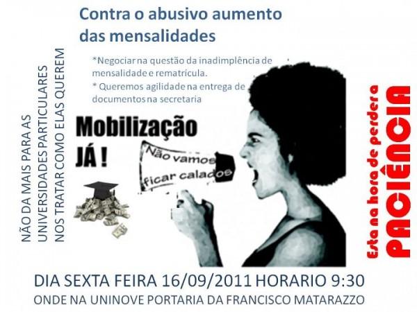 Mobilização contra o aumento abusivo das mensalidades da UNINOVE
