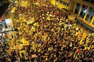Um dos atos em Porto Alegre que barrou o aumento da passagem.