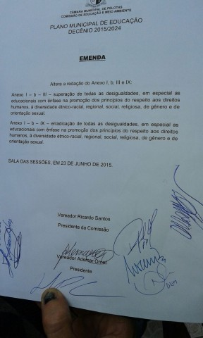 Emenda que saiu vitoriosa em Pelotas.